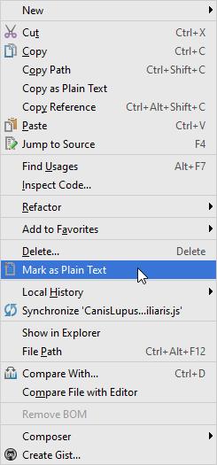 Mark as plain text