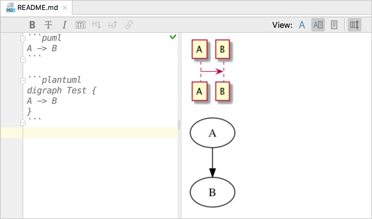 PlantUML diagrams in markdown