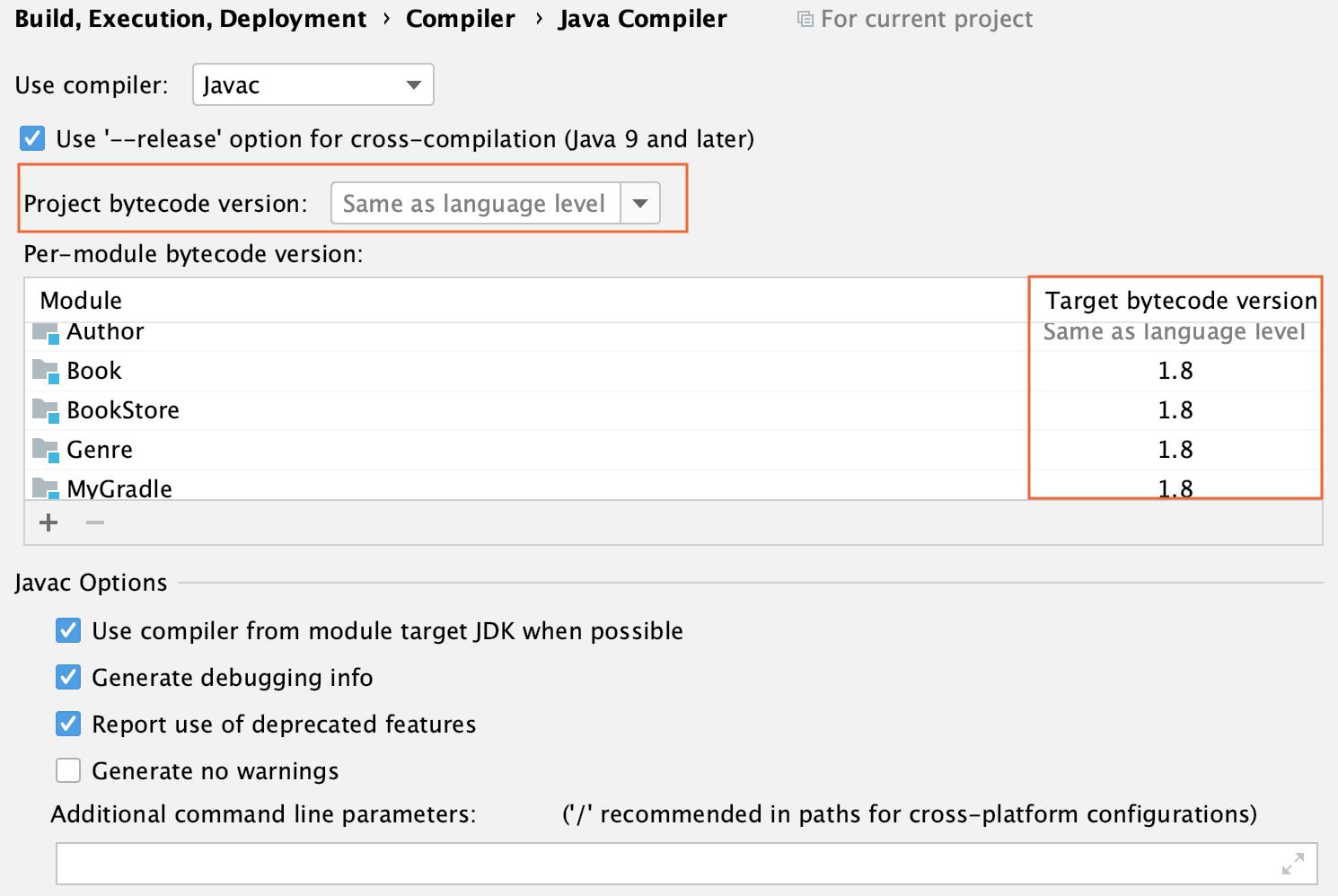 the Java compiler settings