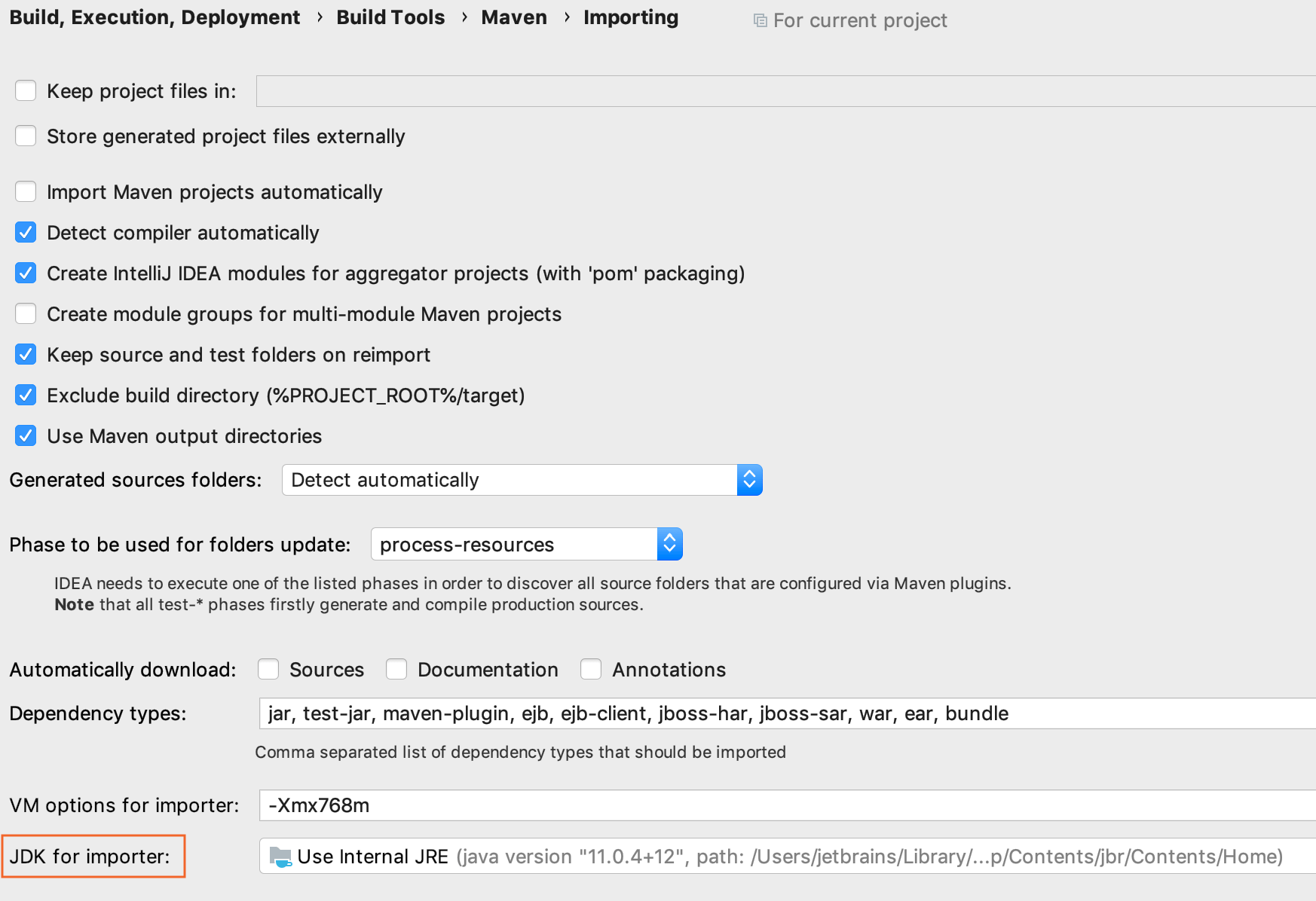 Maven Settings / Importing page