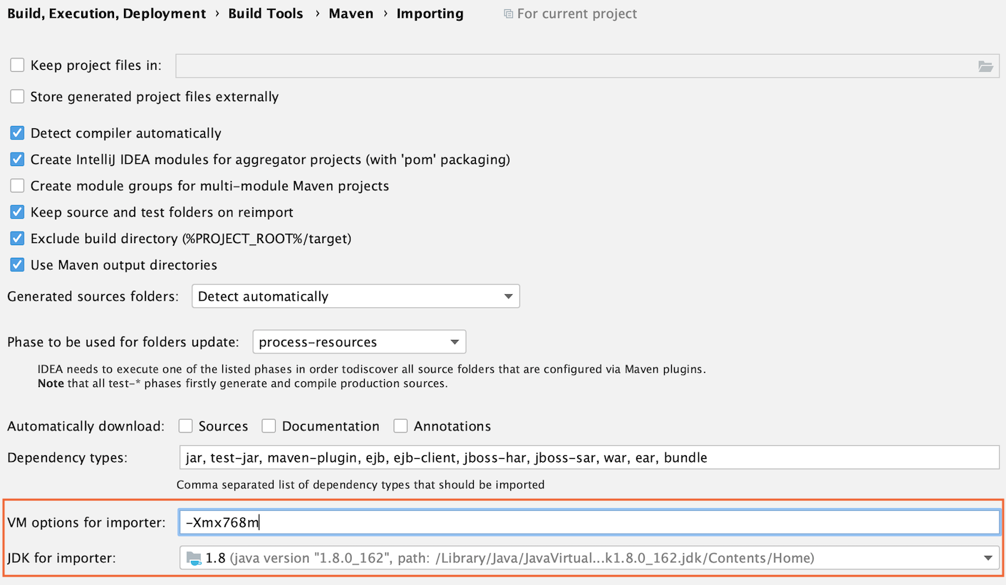 the Maven settings: VM options and JDK for importer