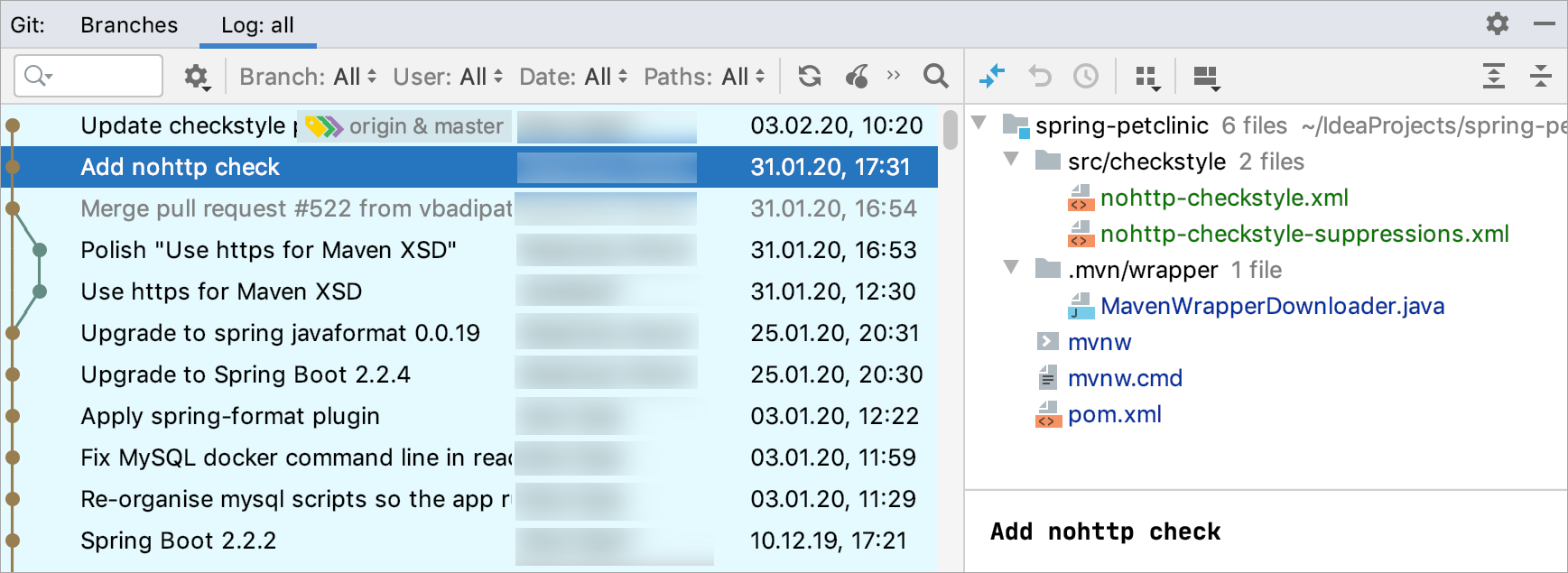 The Log tab of the Git tool window