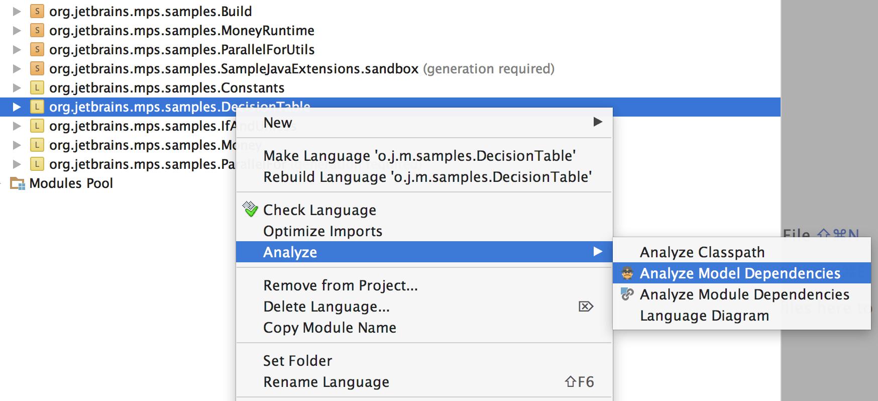 Dependencies Analyzer from context menu
