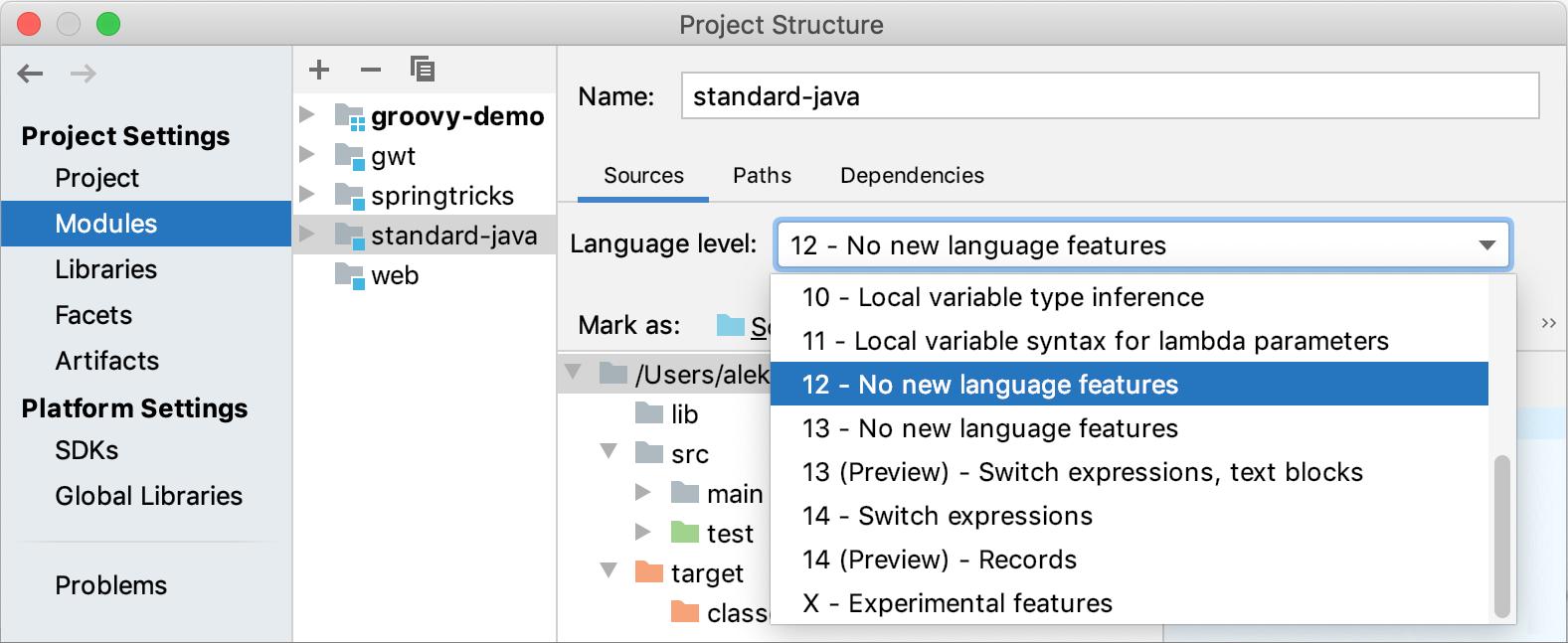 Specifying the module language level