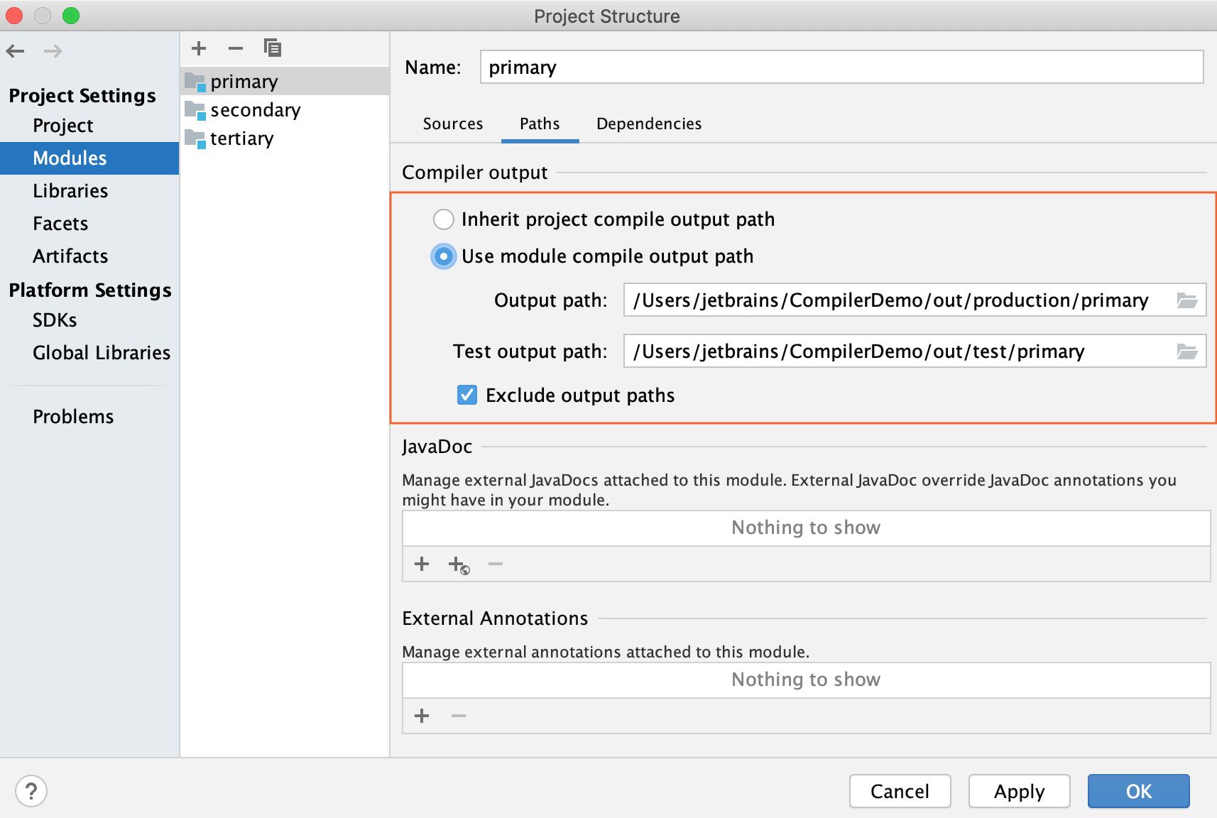 Project Structure dialog / Module page