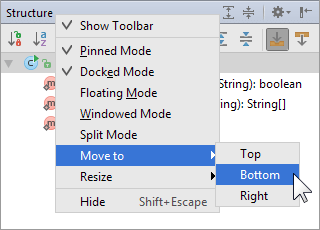 Moving a tool window using the context menu