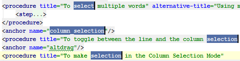 the Multiple Selection feature used in the editor