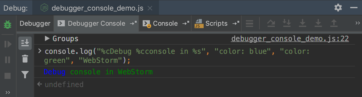 Node.js interactive debugger console: applying CSS style to log messages