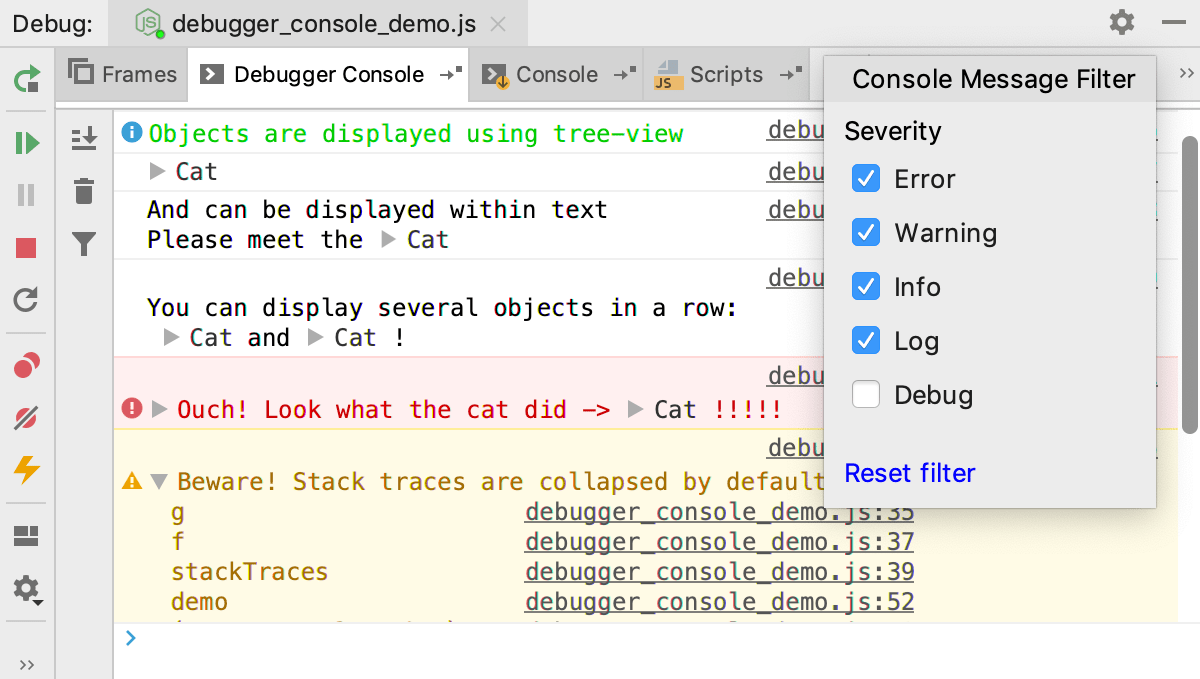 Node.js interactive debugger console: filtering out messages by type