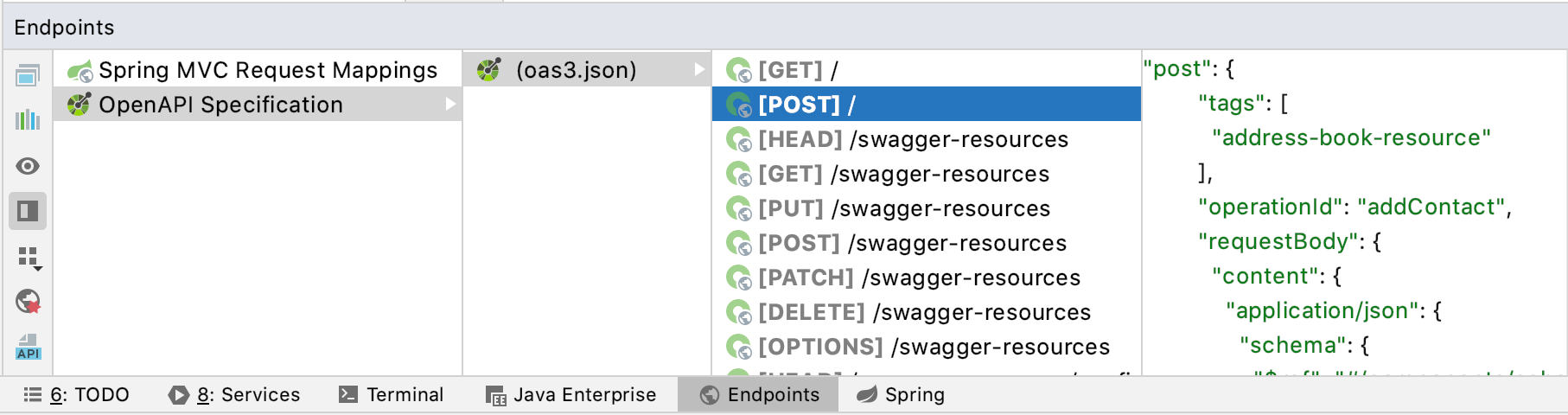 Endpoints from an OpenAPI specification