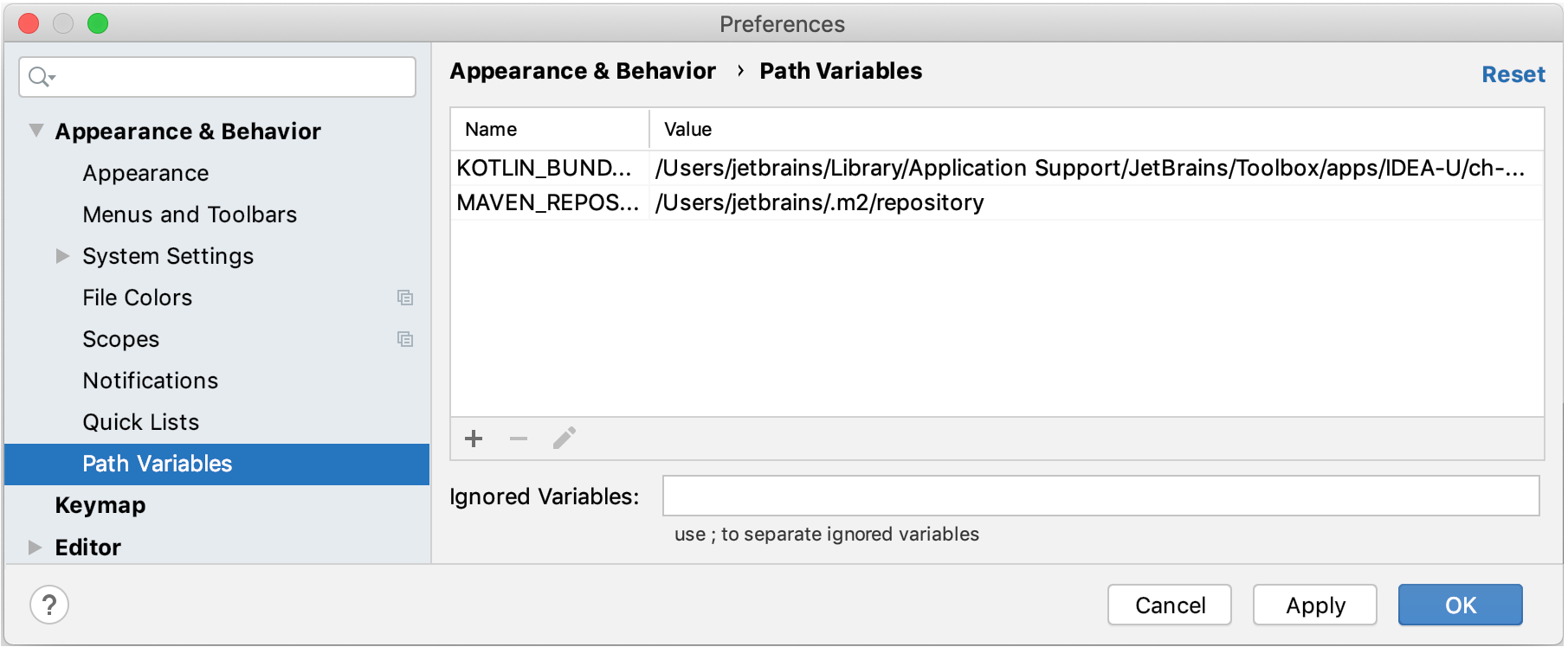 Path Variables dialog