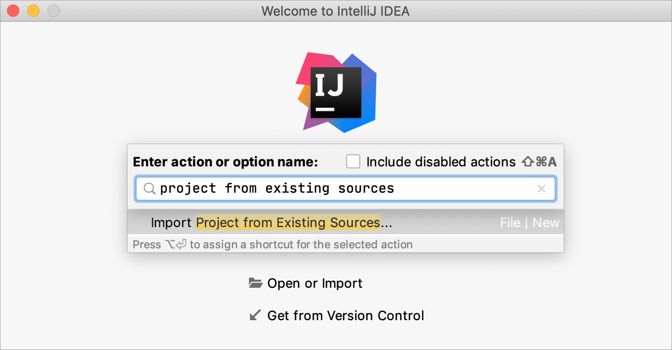 Importing a project from existing sources