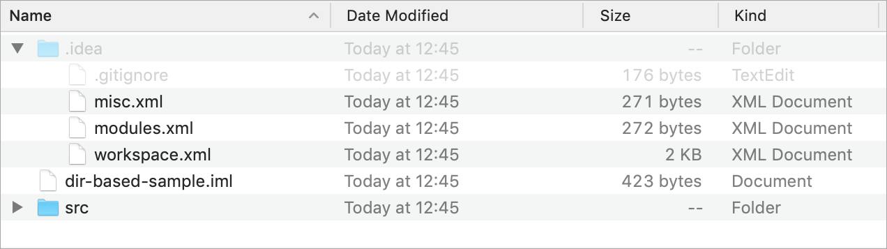 A simple directory-based project shown in Finder