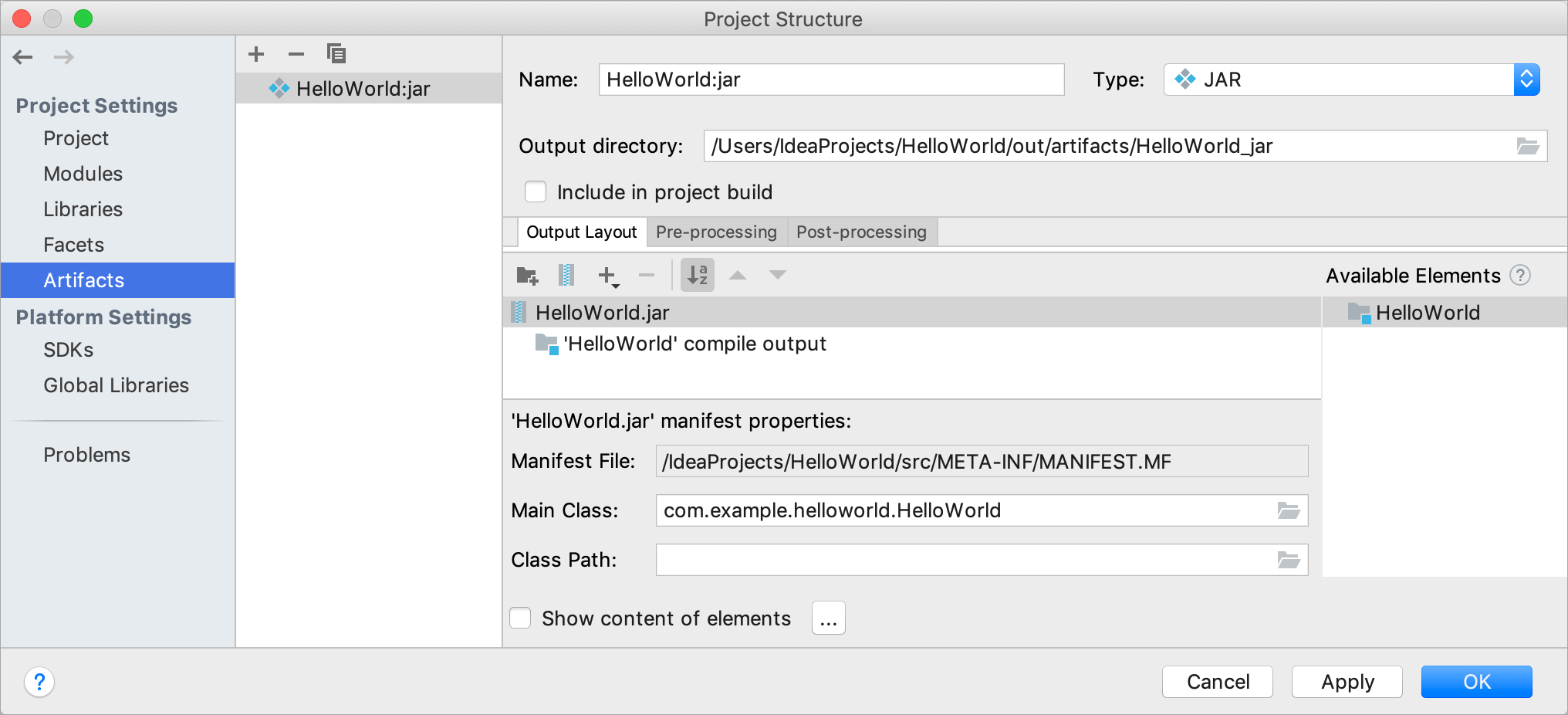 Project Structure dialog / Artifacts page