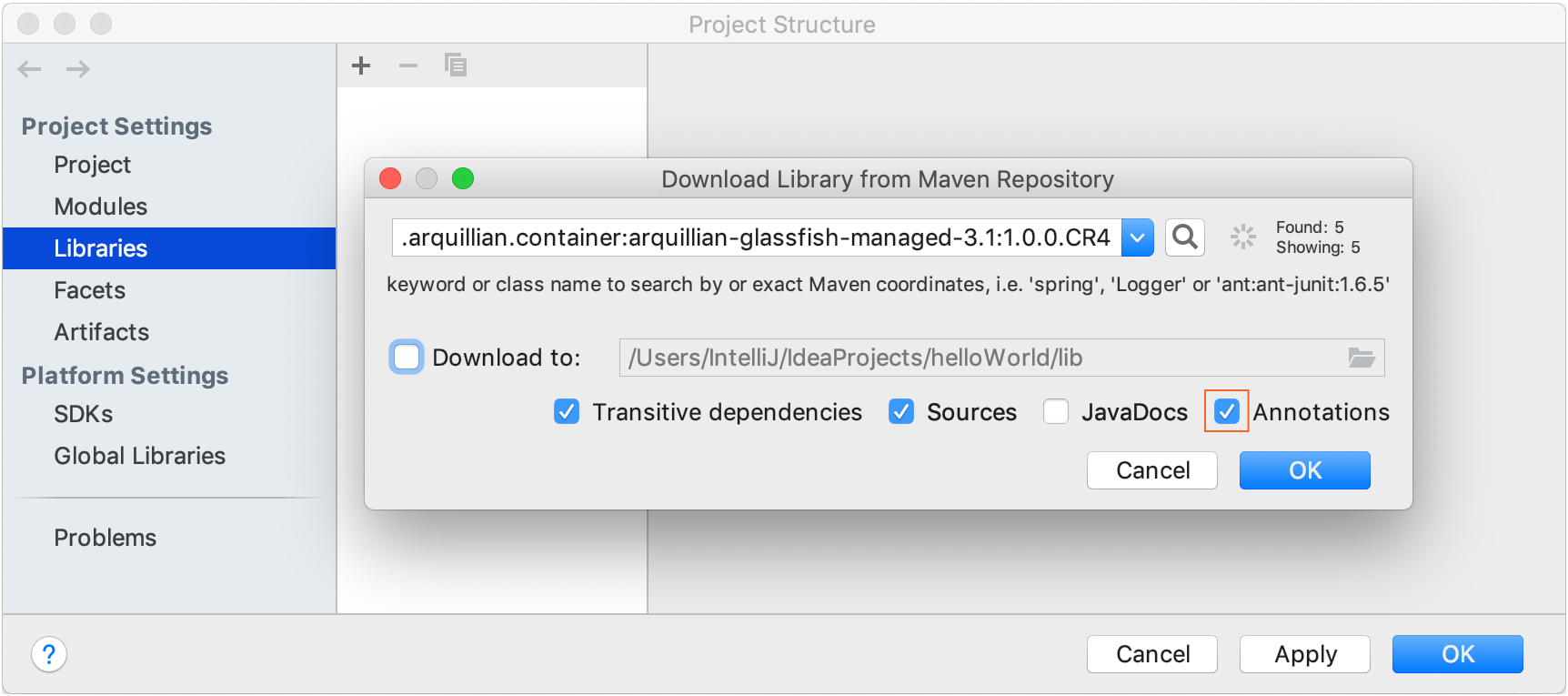 Downloading a library from Maven