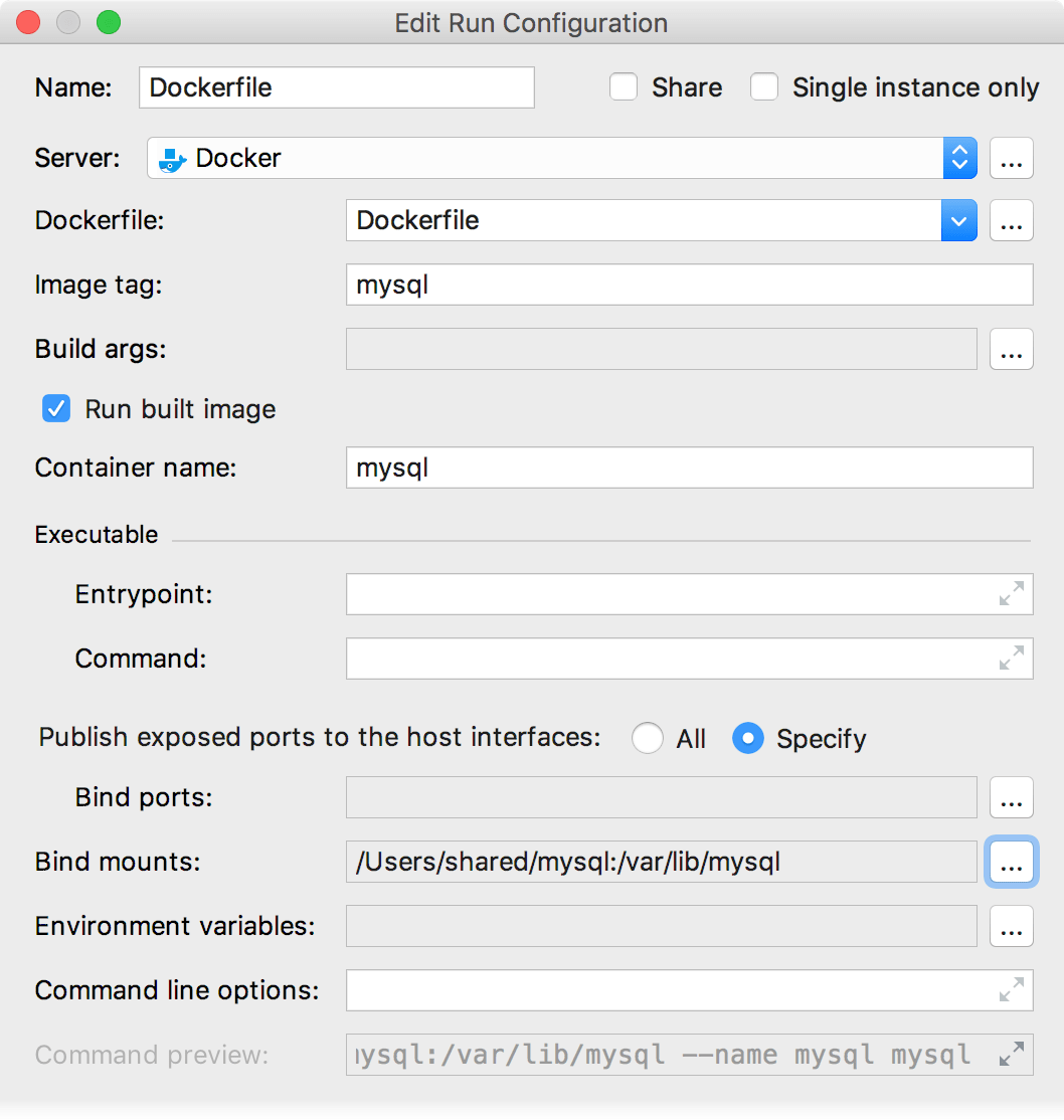The Edit Deployment Configuration dialog with bind mounts