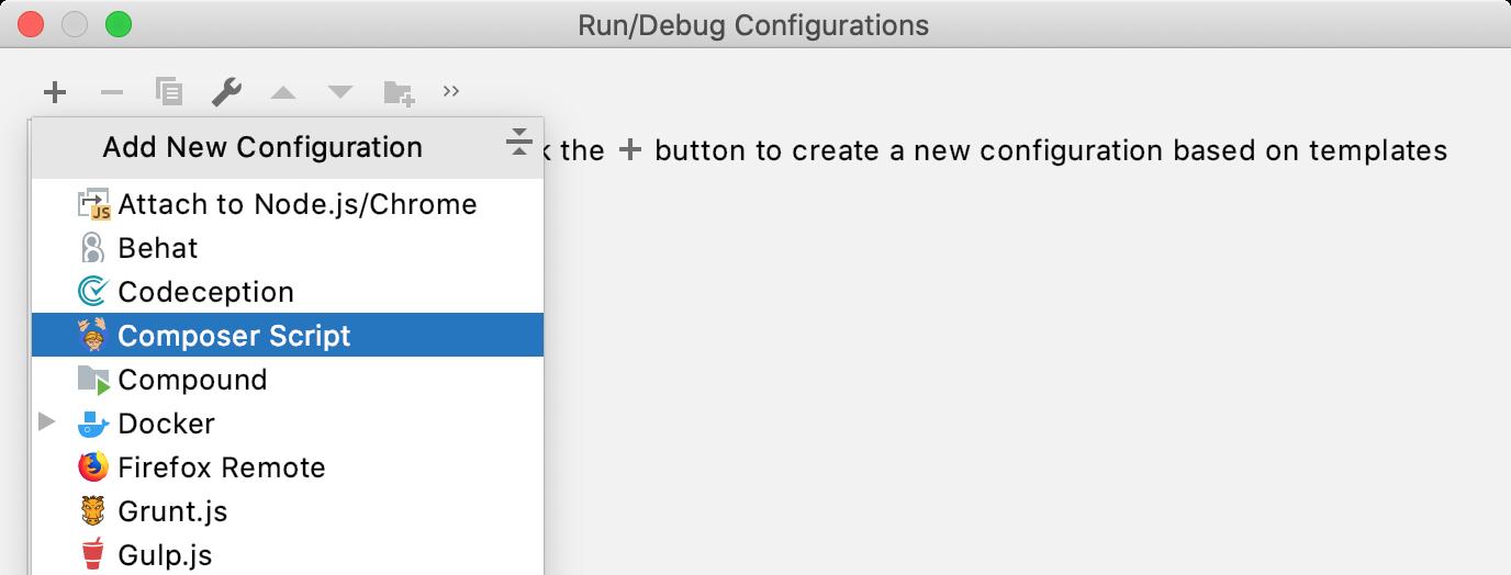 Add new Composer Script run configuration