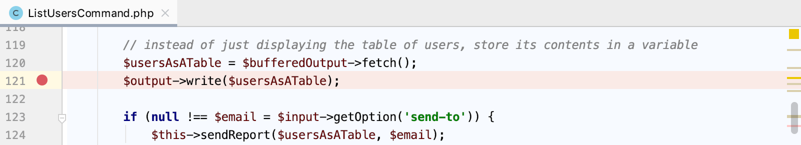 Set a breakpoint in a Symfony command