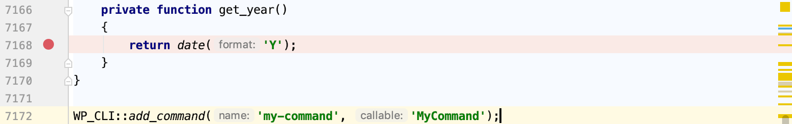 Set a breakpoint in a Wordpress command