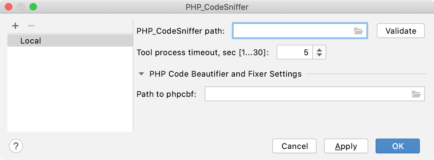 Empty PHP_CodeSniffer path field