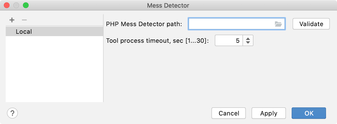Empty PHP Mess Detector path field