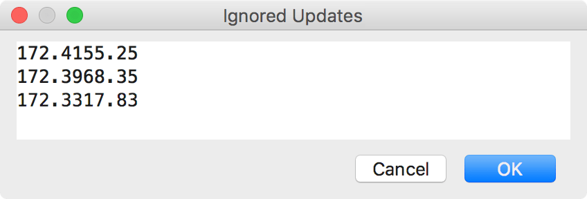 View/edit ignored updates