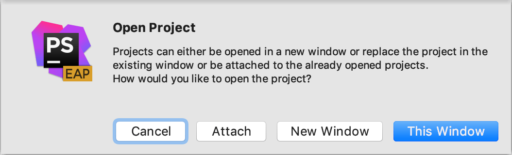 Open project in new window prompt