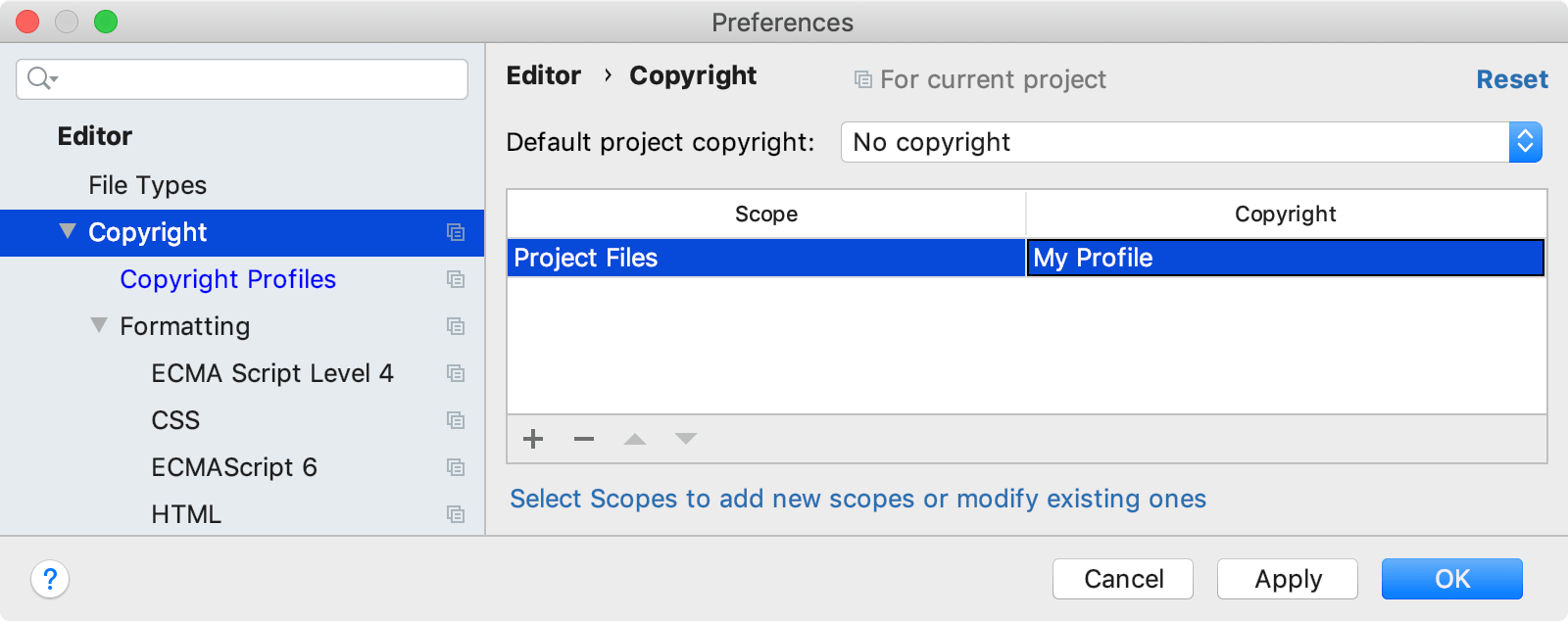 Associating a profile with a scope