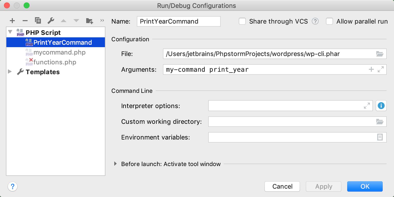 Run/Debug Configurations dialog for Wordpress CLI command
