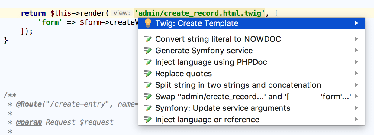 Creating a Symfony template via intention action
