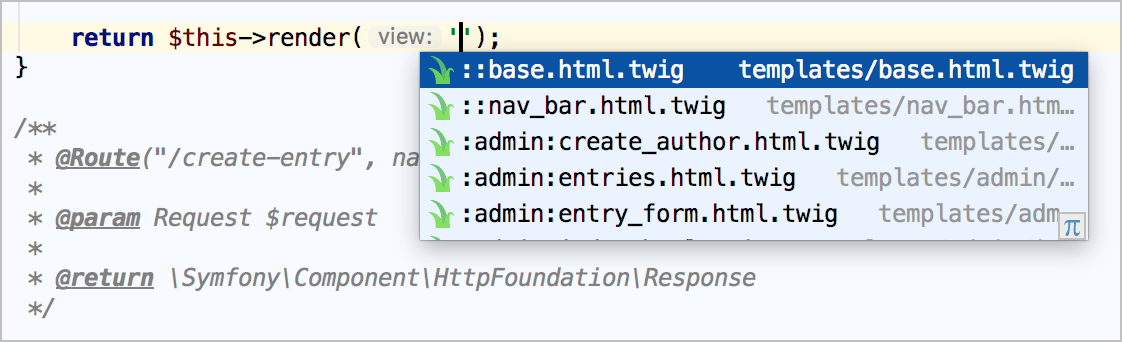 Symfony template name completion