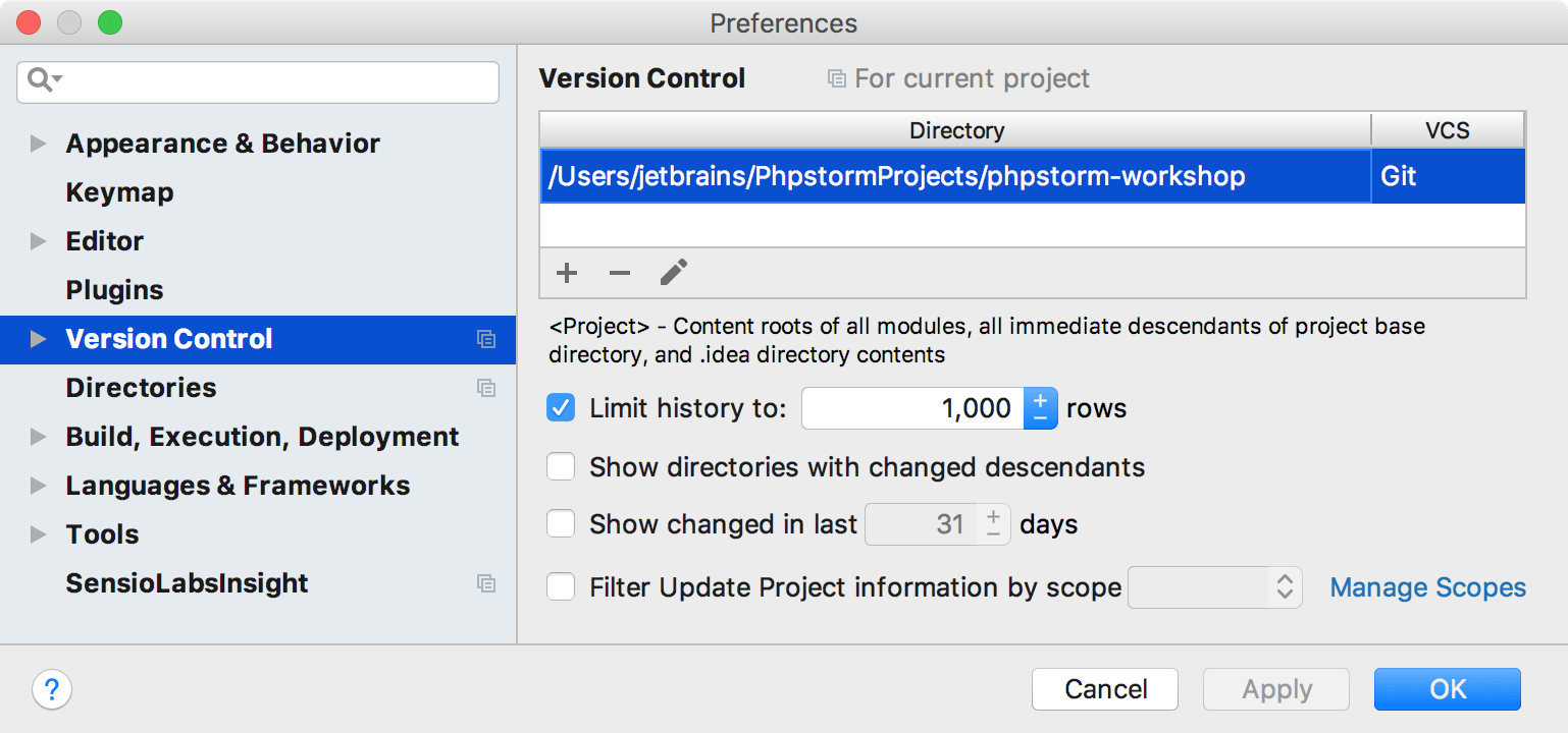 Version Control System settings