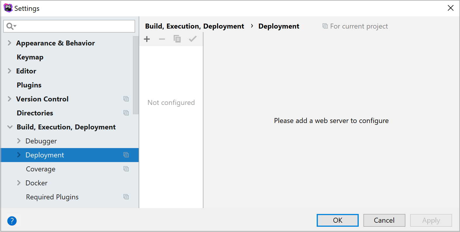 Blank Deployment Servers list