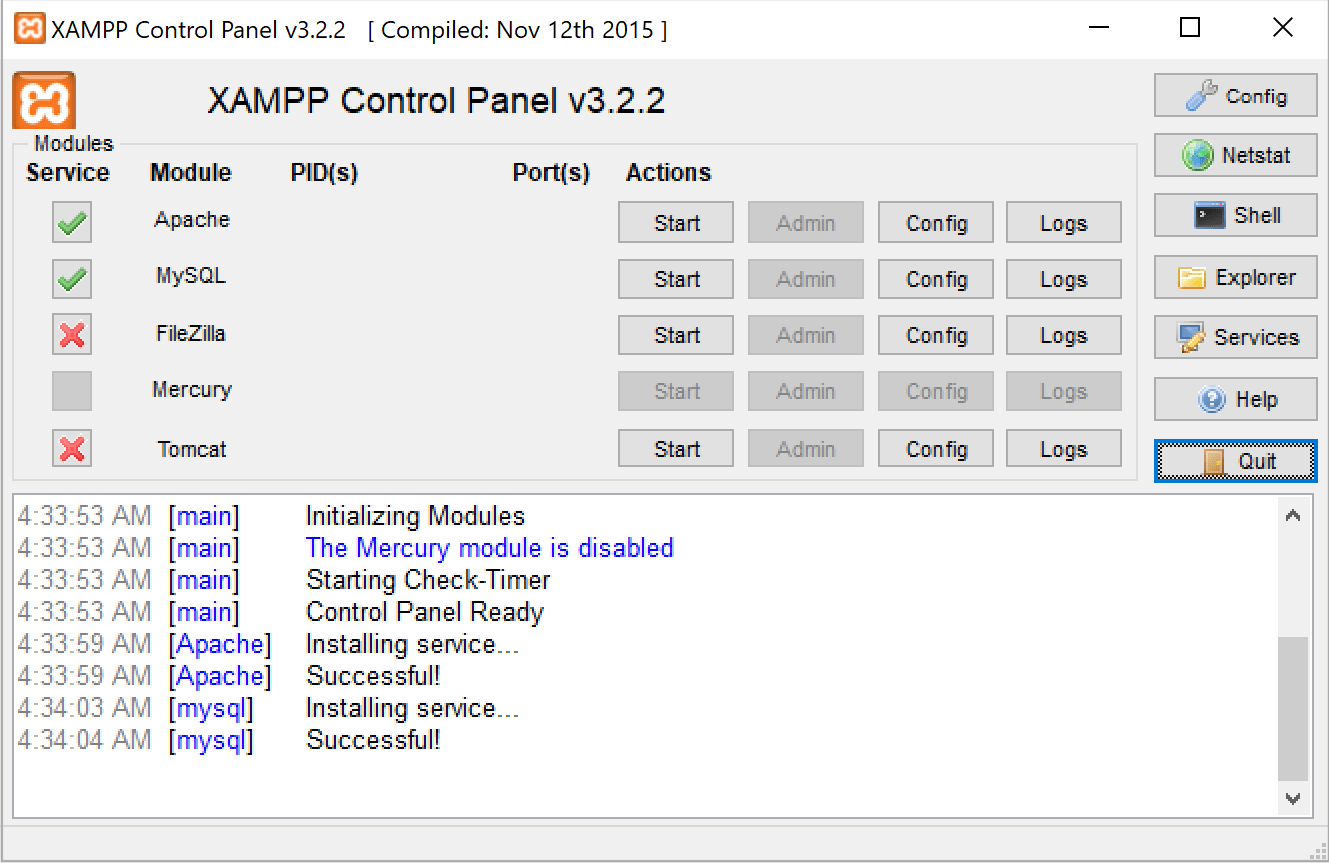 XAMPP installed services