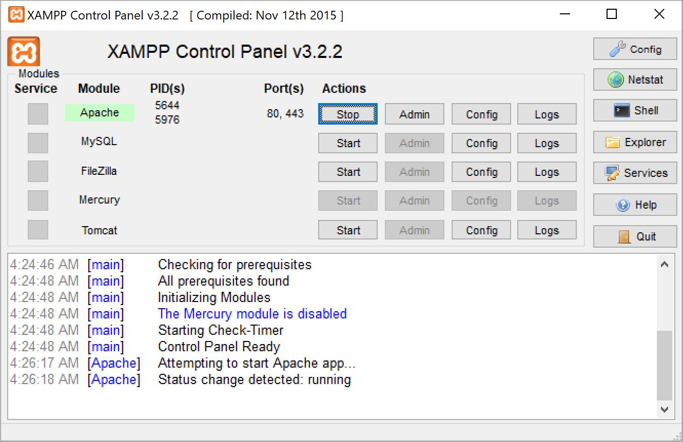 Staring XAMPP servers