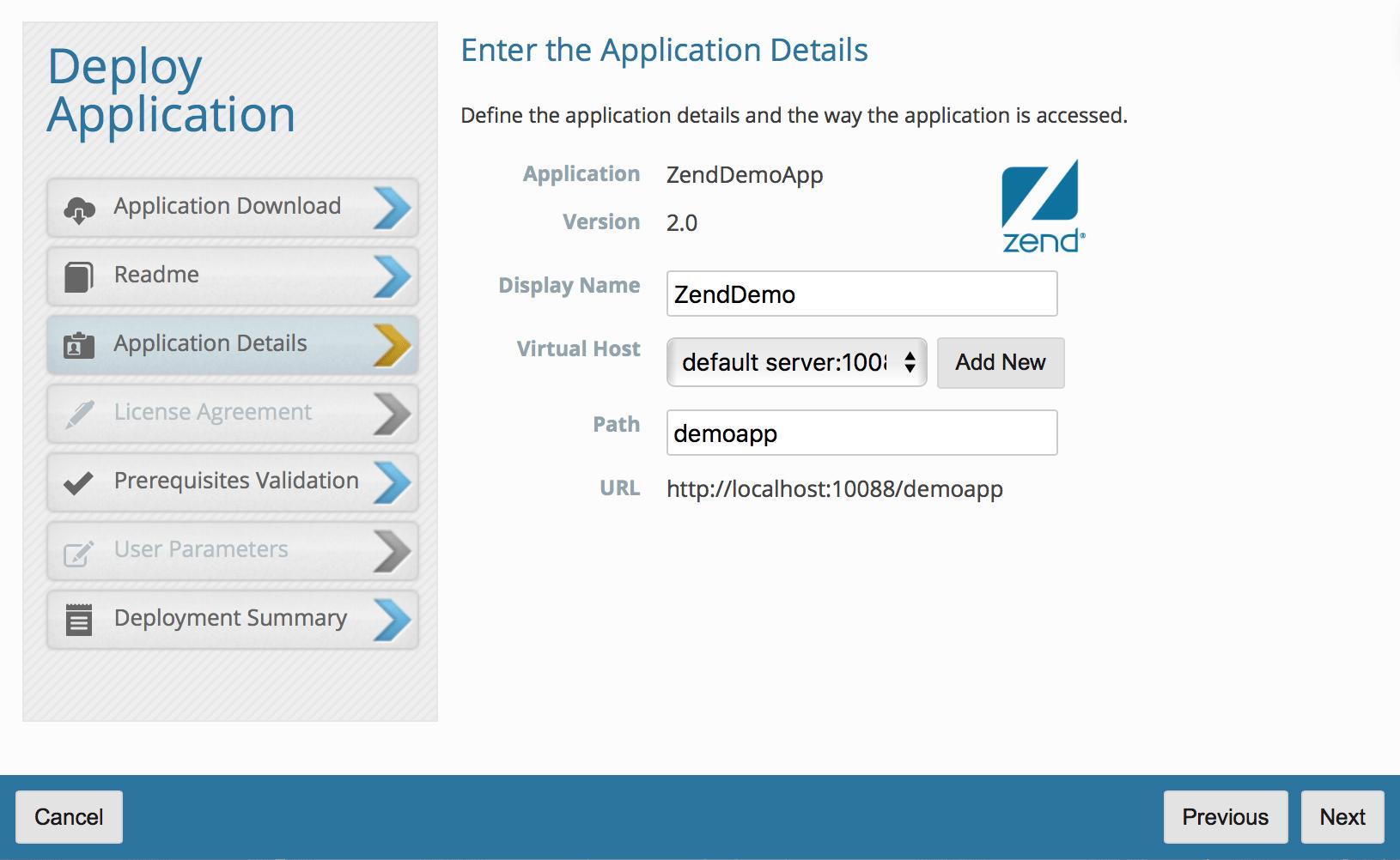 Enter Zend demo app details