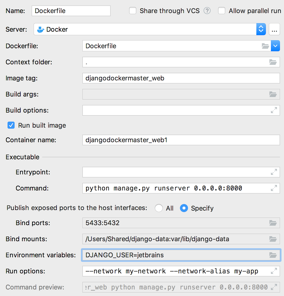 The Edit Deployment Configuration dialog with environment variables