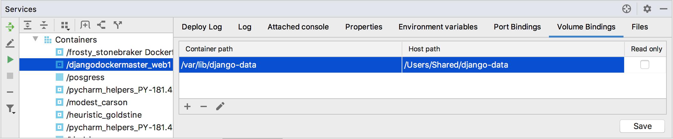 The Volume Bindings tab