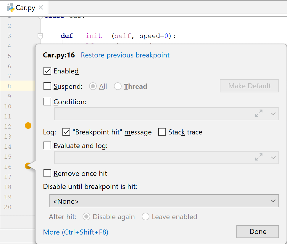 Adding an action breakpoint