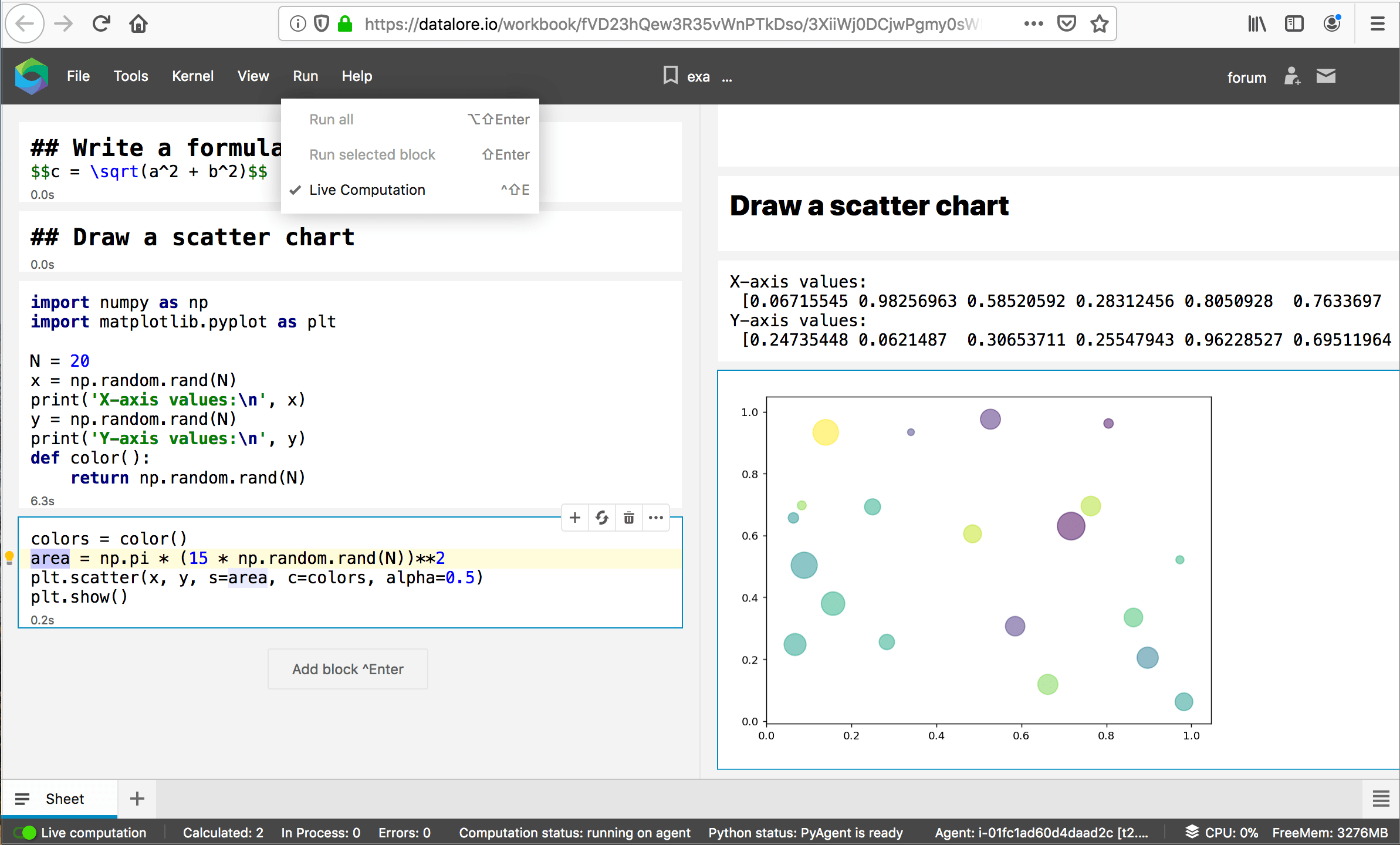 Running a notebook in Datalore