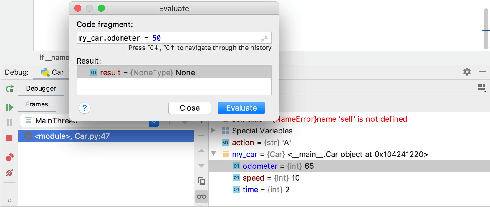Evaluate expression: target value