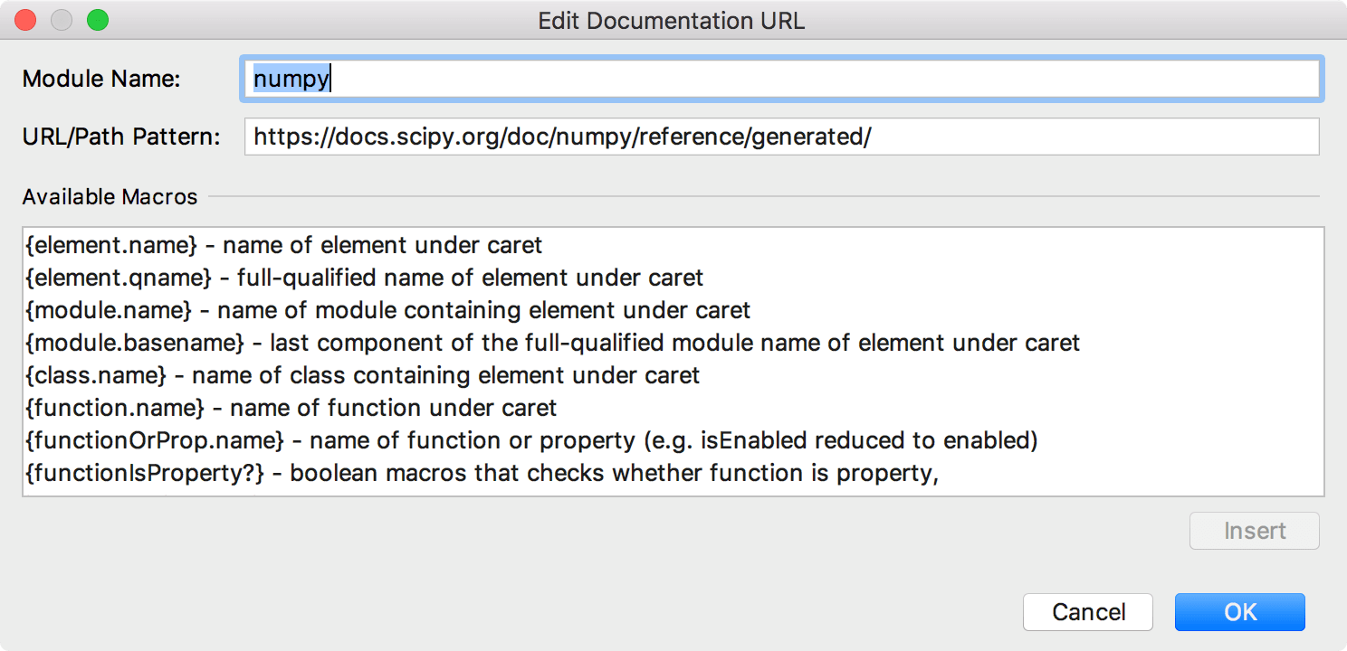 Adding a URL for numpy documentation