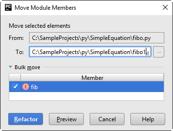 Move module member dialog