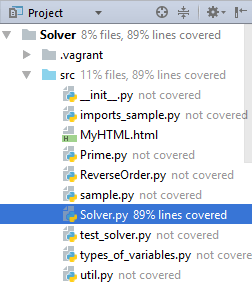 View coverage results in the Project tool window