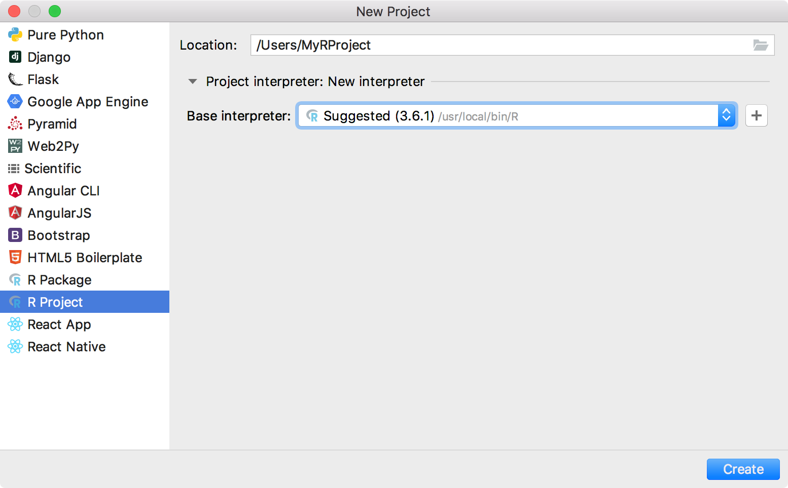 Adding a new project R interpreter