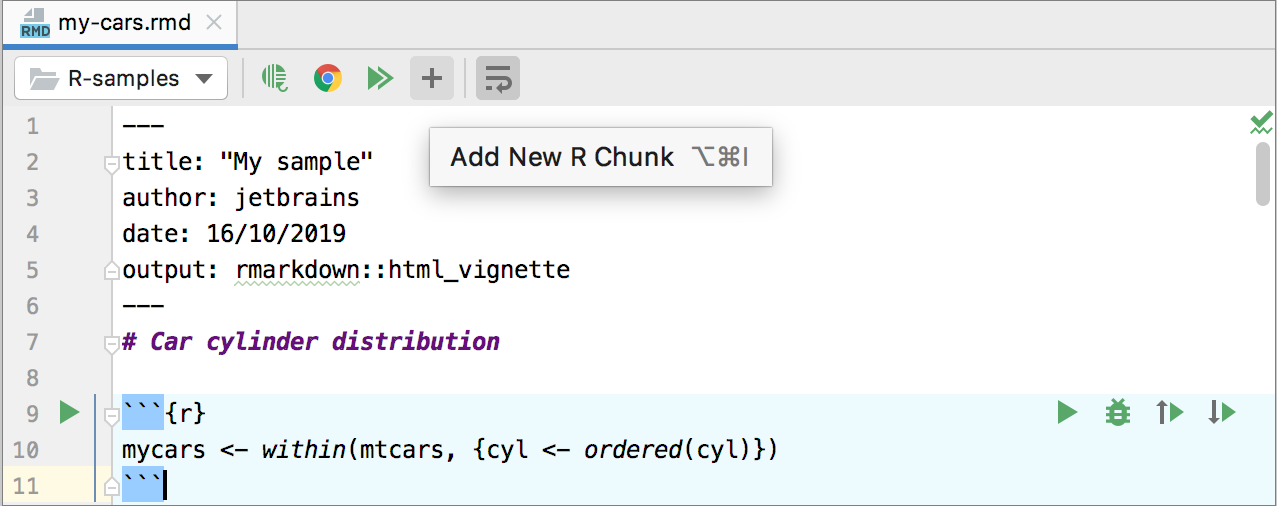 Adding a new code chunk to a R Markdown file