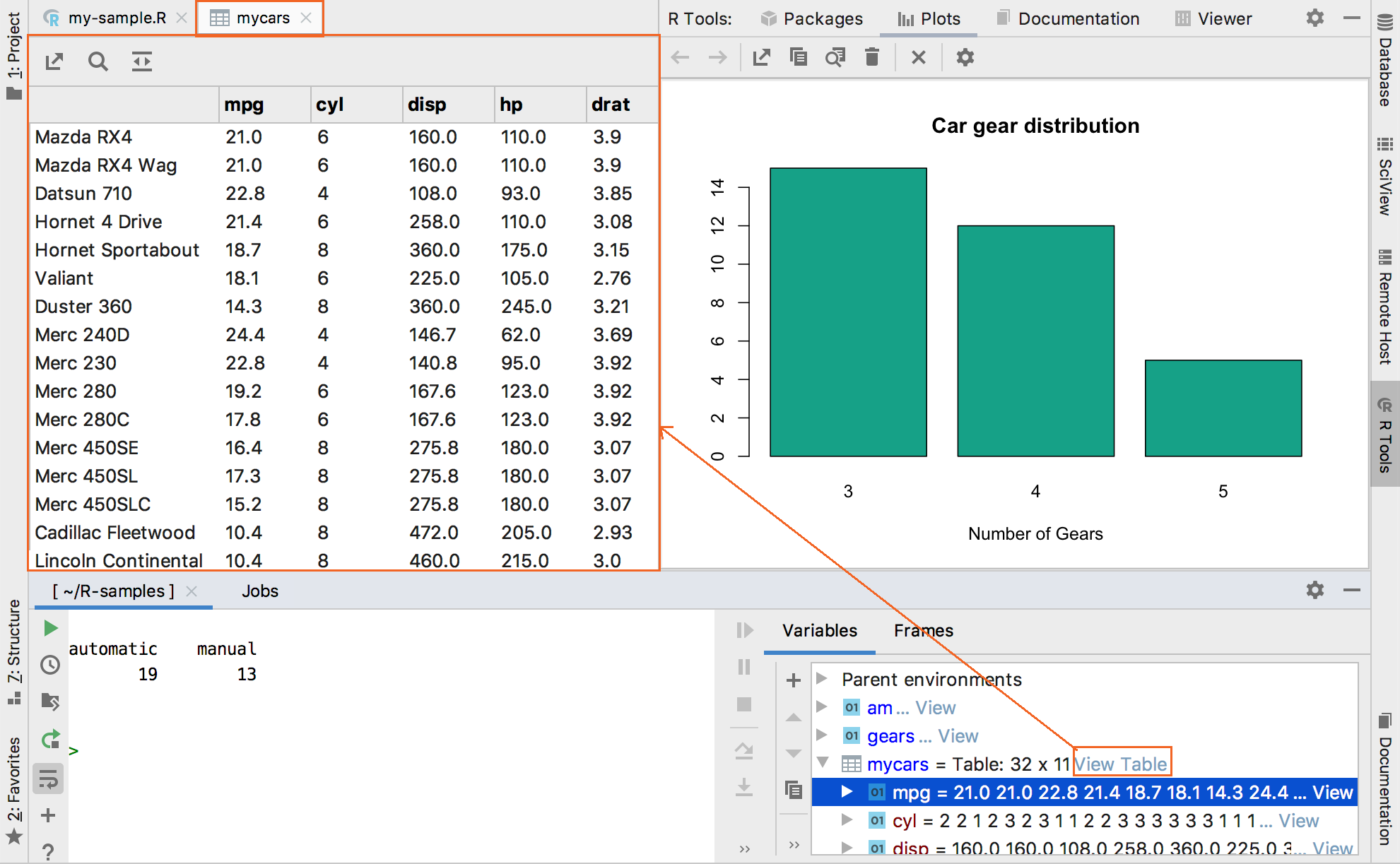 Previewing data in the Table View
