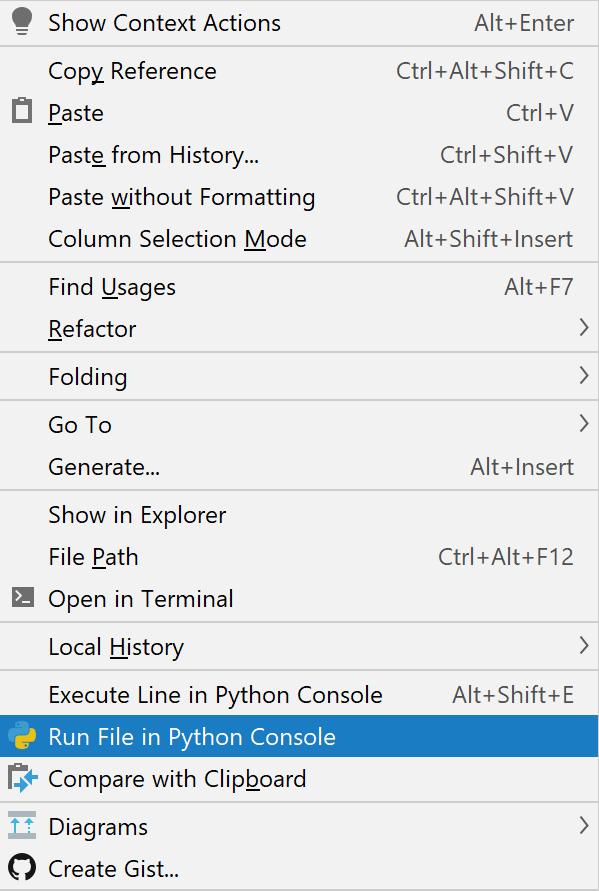 Run file in console