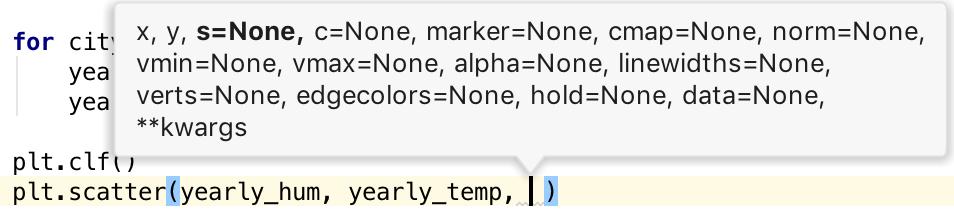 Show parameter info