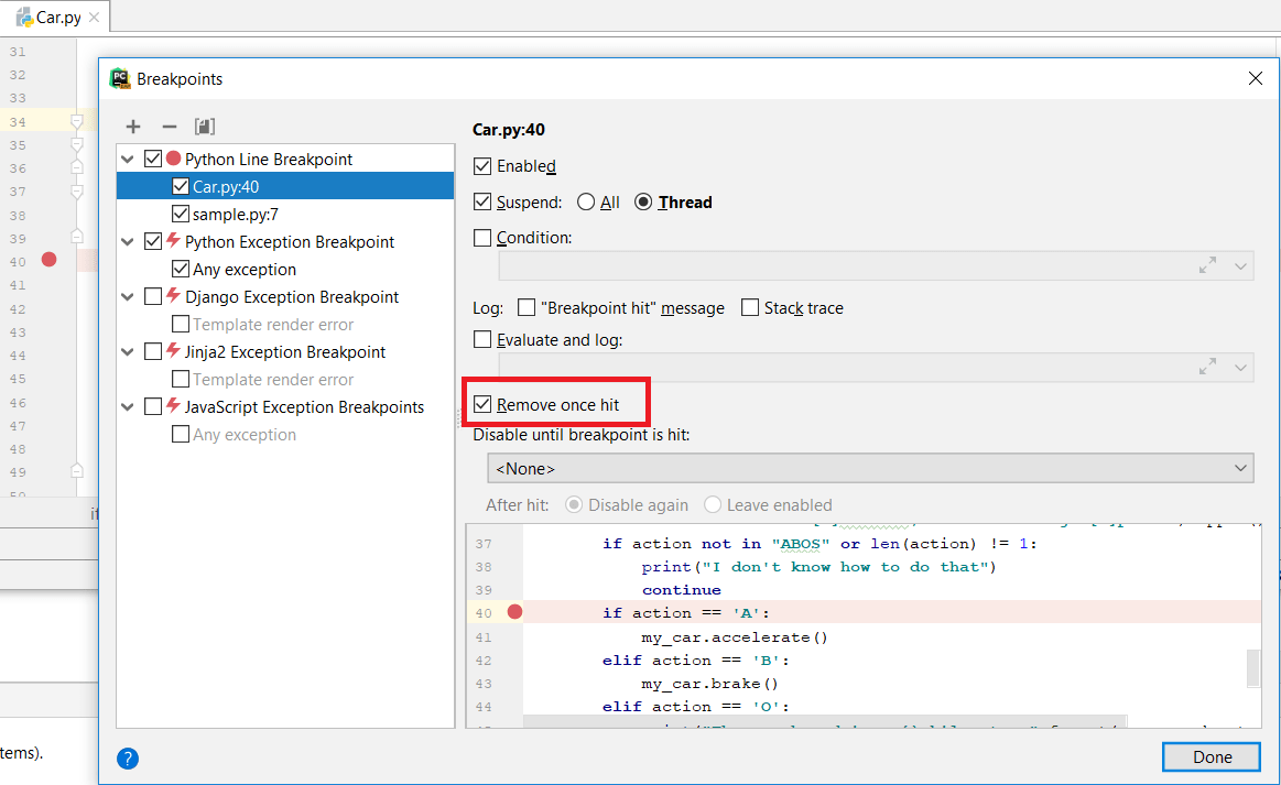 Setting a temporary breakpoint